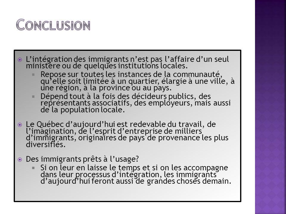Conclusion L'intégration des immigrants n'est pas l'affaire d'un seul ministère ou de quelques institutions locales.