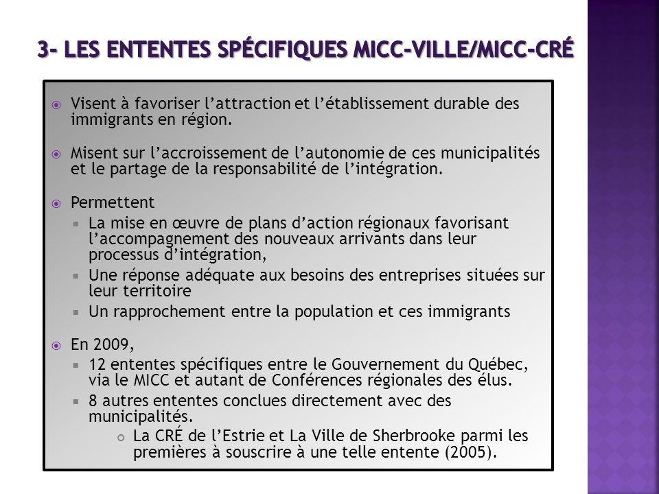 3- Les ententes spécifiques MICC-Ville/MICC-CRÉ