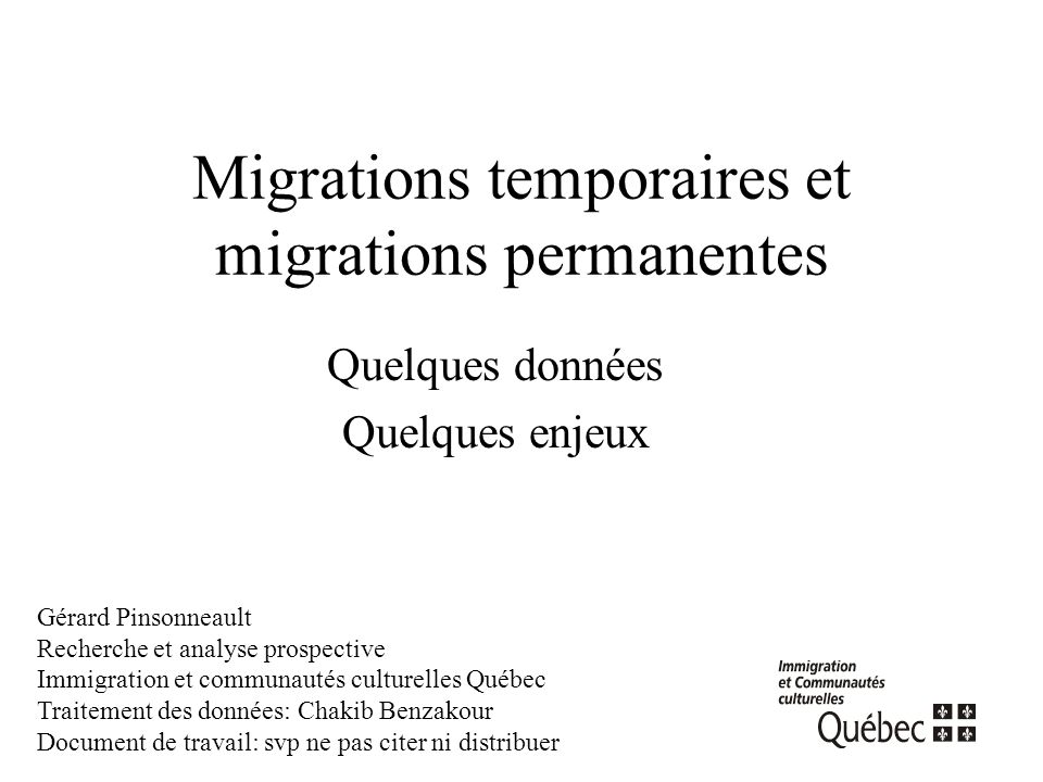 Migrations temporaires et migrations permanentes