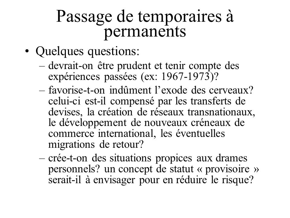 Passage de temporaires à permanents