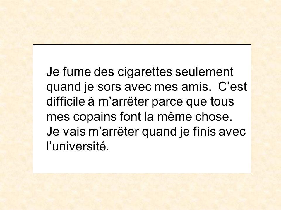Je fume des cigarettes seulement quand je sors avec mes amis