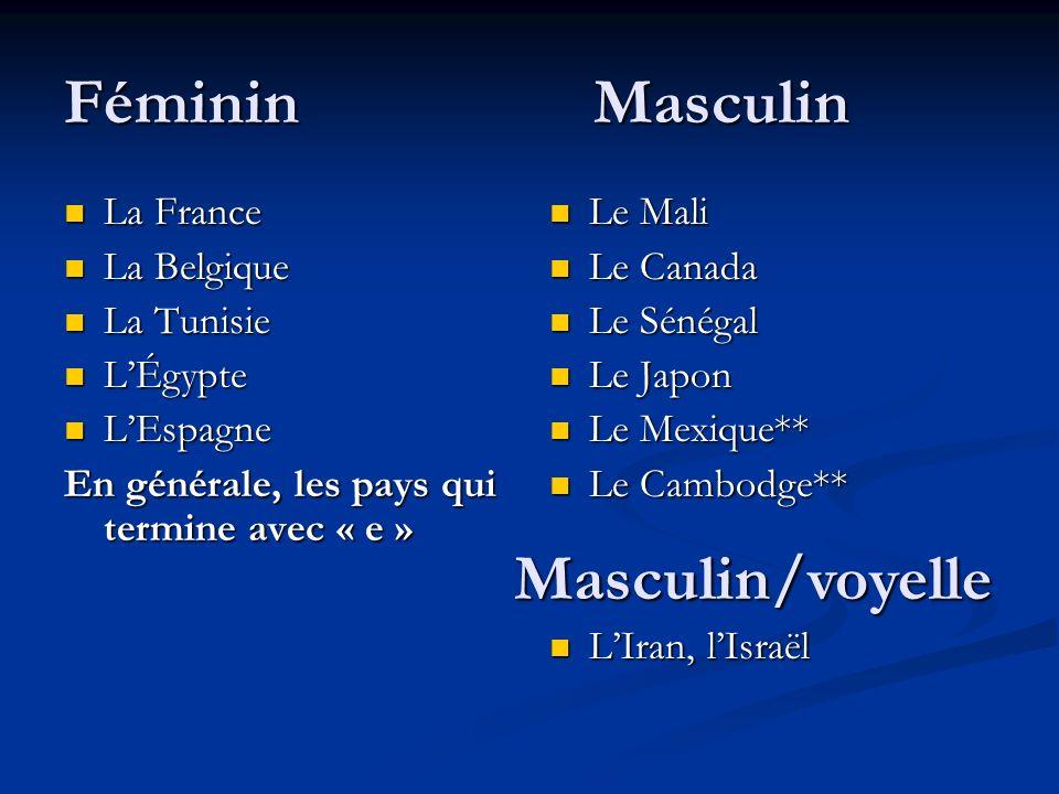 Féminin Masculin Masculin/voyelle La France La Belgique La Tunisie