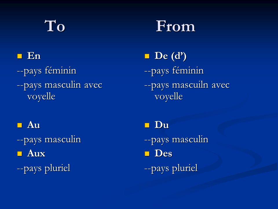 To From En --pays féminin --pays masculin avec voyelle Au