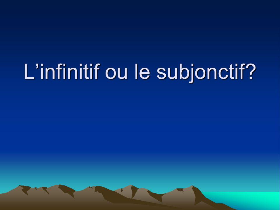 L'infinitif ou le subjonctif