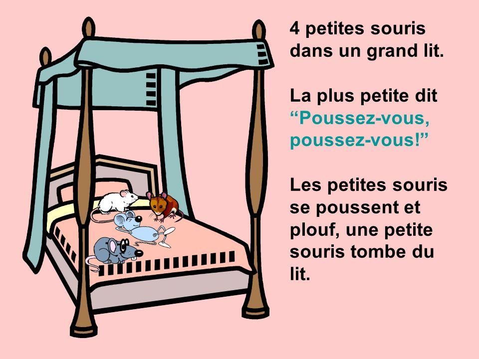 4 petites souris dans un grand lit.