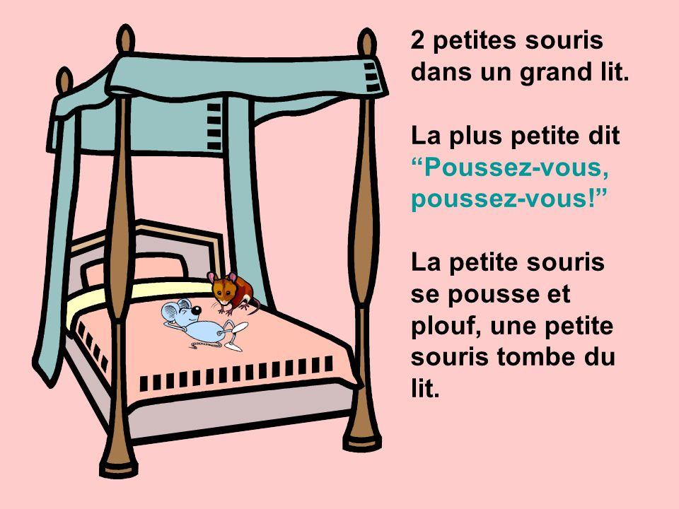 2 petites souris dans un grand lit.