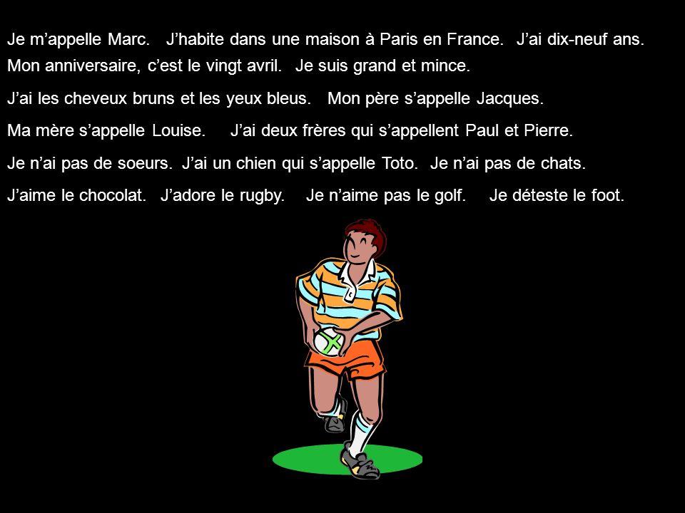 Je m'appelle Marc. J'habite dans une maison à Paris en France. J'ai dix-neuf ans. Mon anniversaire, c'est le vingt avril.