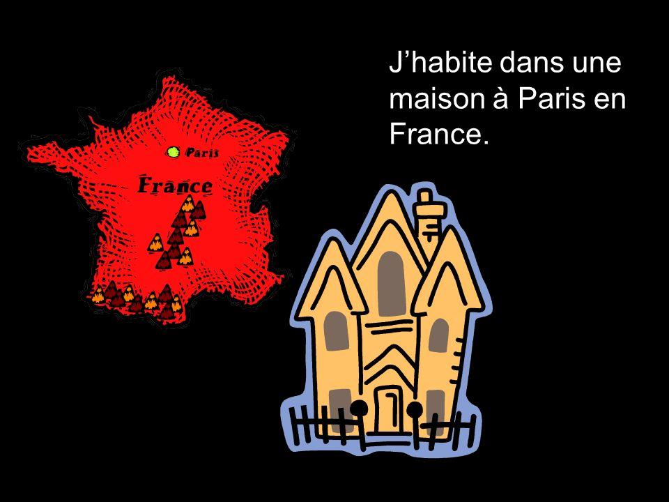 J'habite dans une maison à Paris en France.