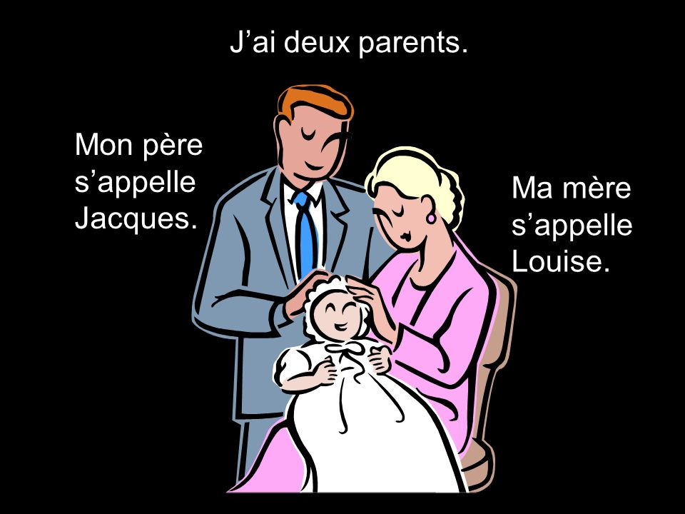 J'ai deux parents. Mon père s'appelle Jacques. Ma mère s'appelle Louise.