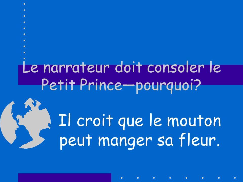 Le narrateur doit consoler le Petit Prince—pourquoi