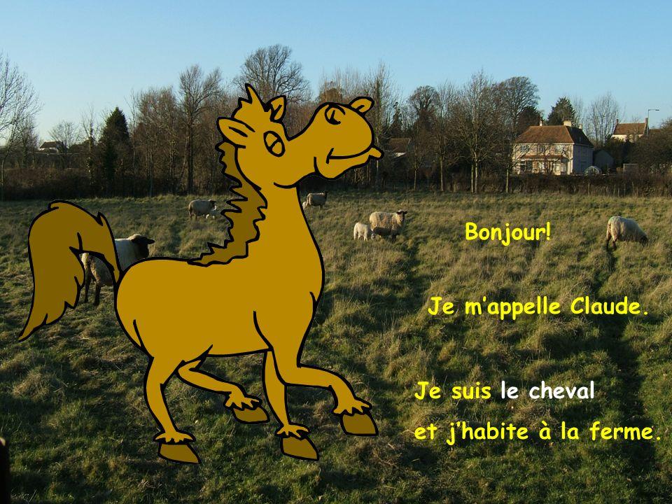 Bonjour! Je m'appelle Claude. Je suis le cheval et j'habite à la ferme.