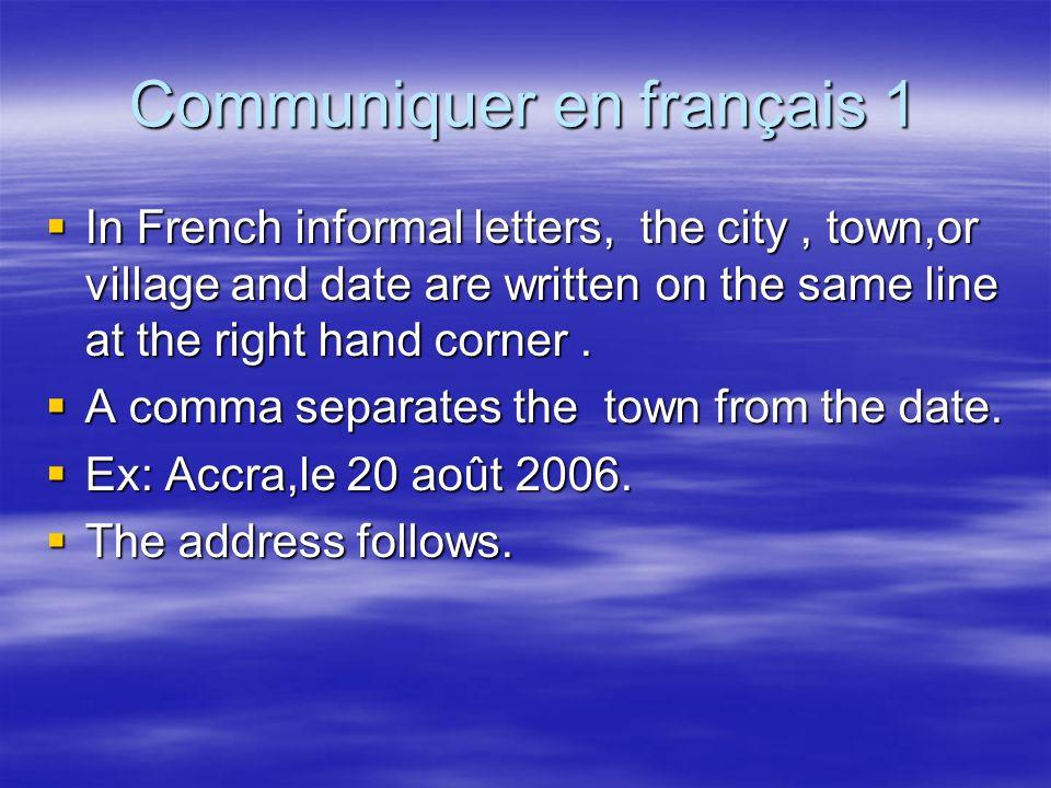 Communiquer en français 1