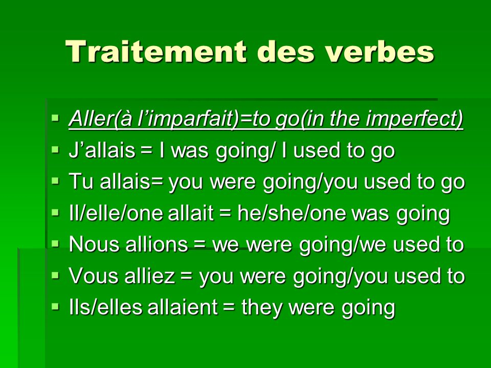 Traitement des verbes Aller(à l'imparfait)=to go(in the imperfect)
