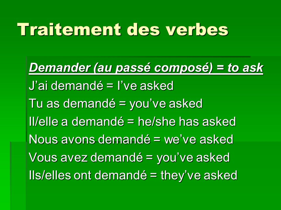 Traitement des verbes Demander (au passé composé) = to ask