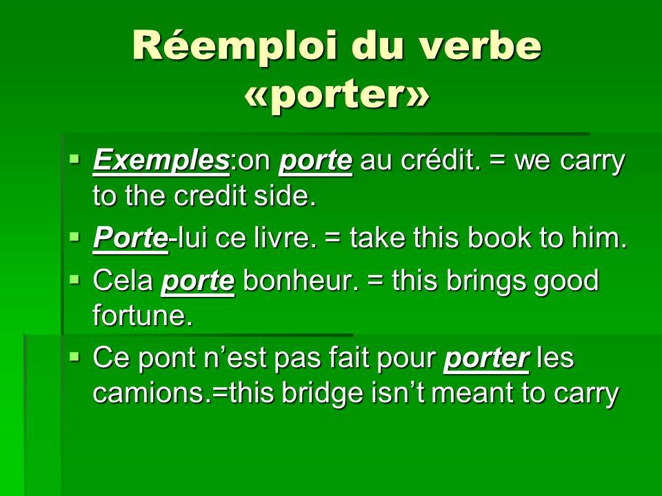 Réemploi du verbe «porter»
