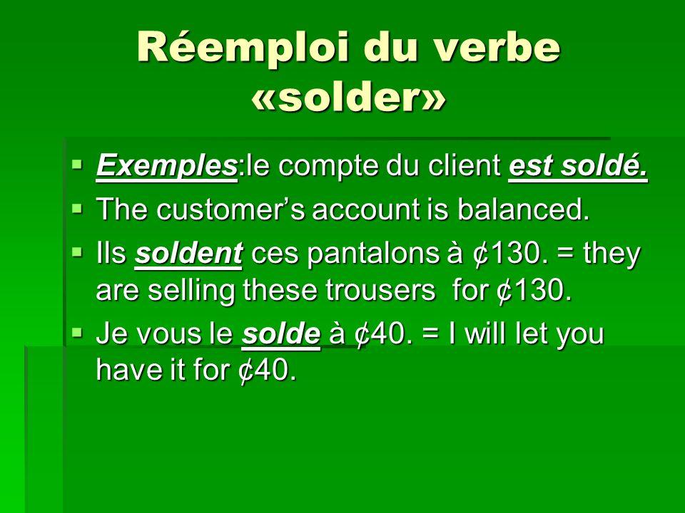 Réemploi du verbe «solder»