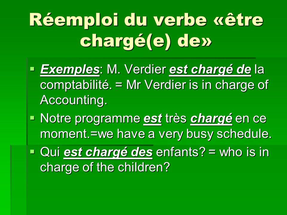 Réemploi du verbe «être chargé(e) de»