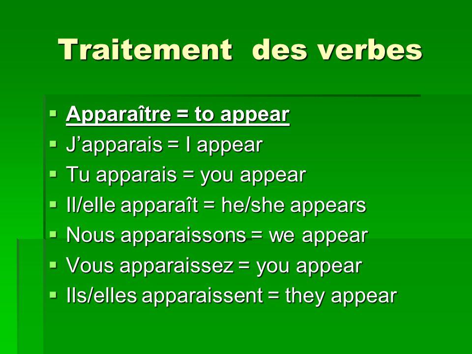 Traitement des verbes Apparaître = to appear J'apparais = I appear