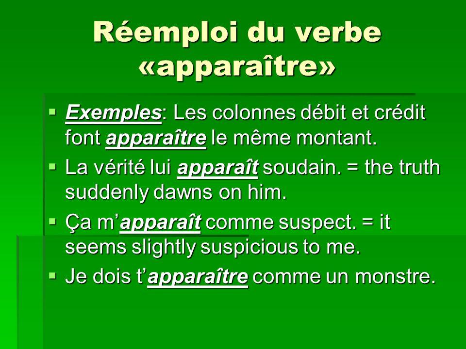Réemploi du verbe «apparaître»
