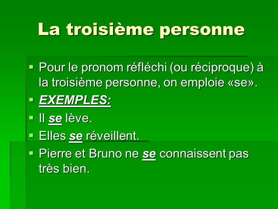 La troisième personnePour le pronom réfléchi (ou réciproque) à la troisième personne, on emploie «se».