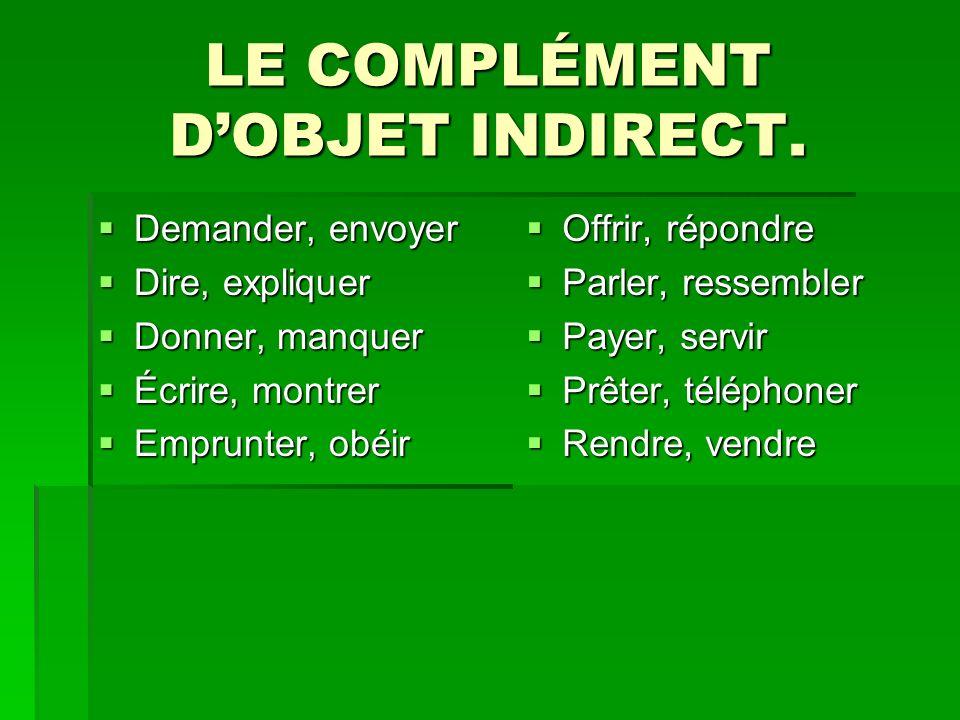 LE COMPLÉMENT D'OBJET INDIRECT.