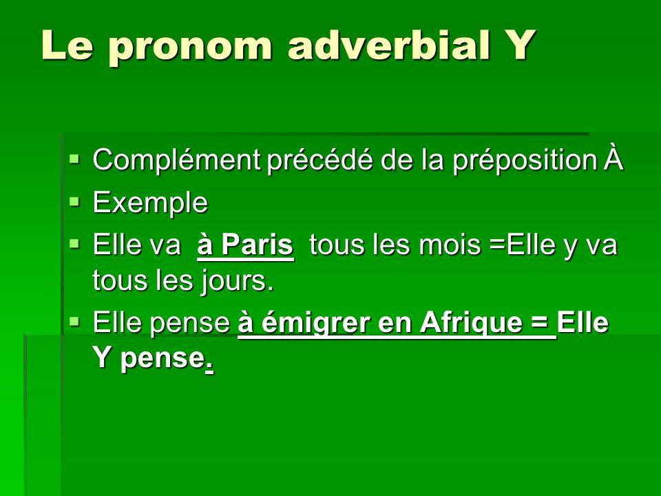 Le pronom adverbial Y Complément précédé de la préposition À Exemple