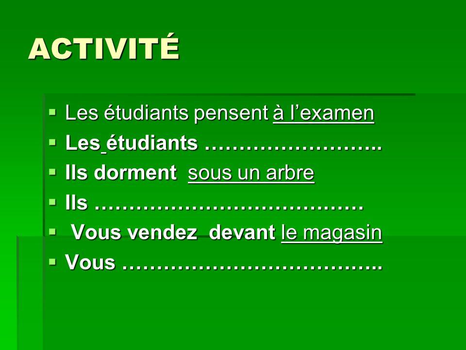 ACTIVITÉ Les étudiants pensent à l'examen Les étudiants ……………………..