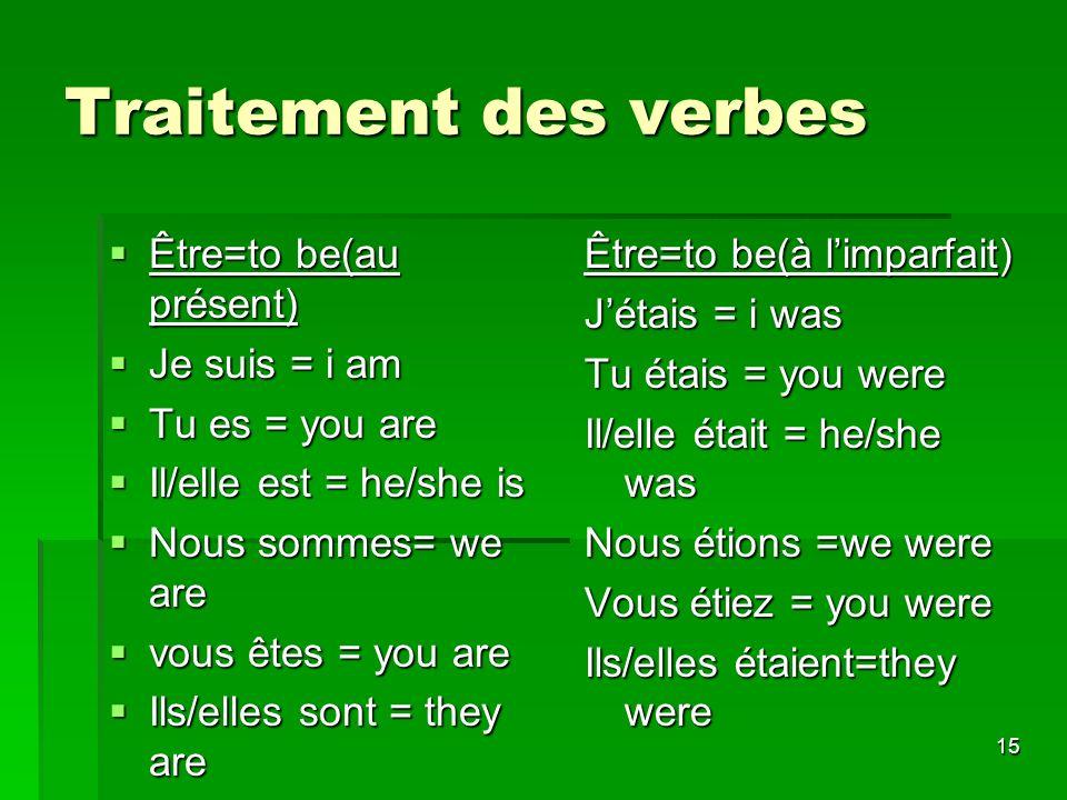 Traitement des verbes Être=to be(au présent) Je suis = i am