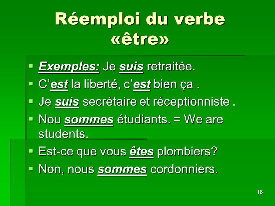 Réemploi du verbe «être»