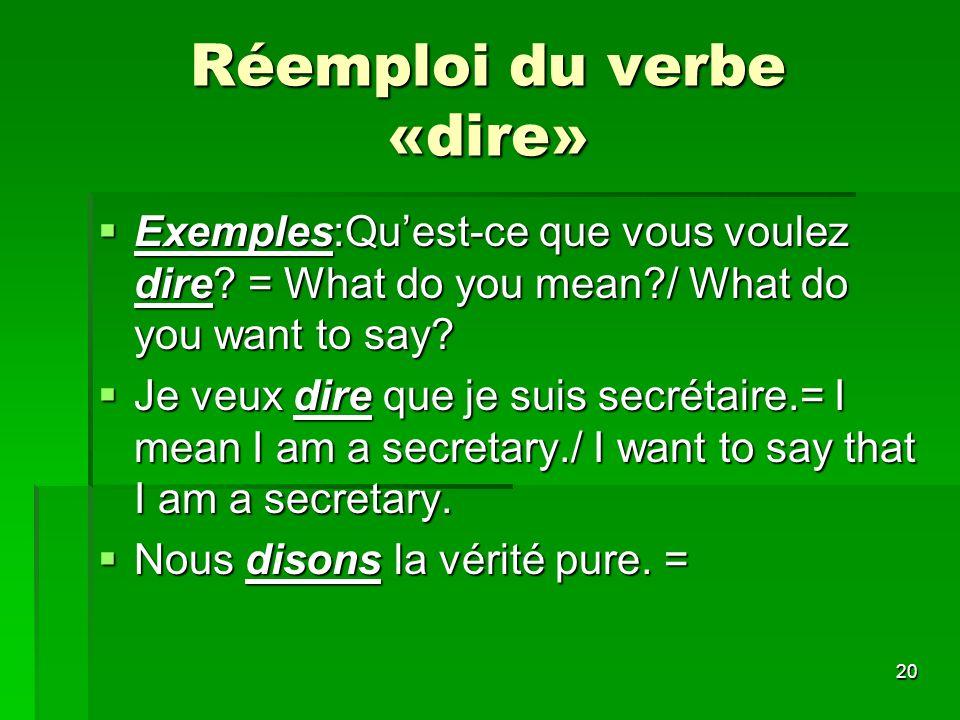 Réemploi du verbe «dire»