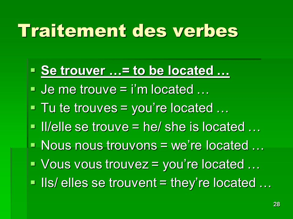 Traitement des verbes Se trouver …= to be located …