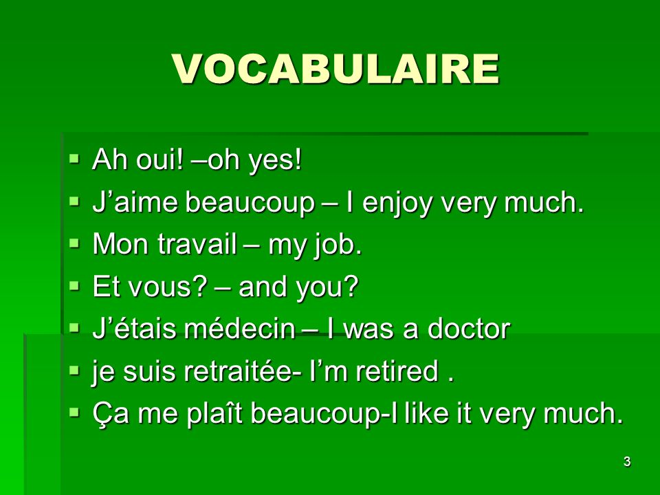 VOCABULAIRE Ah oui! –oh yes! J'aime beaucoup – I enjoy very much.