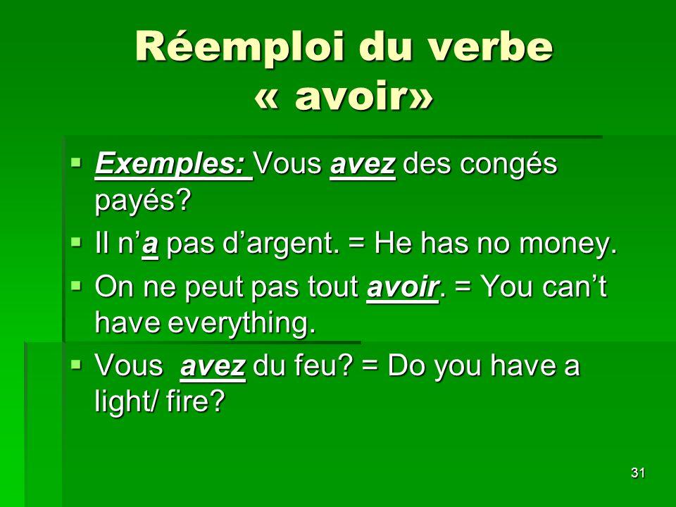 Réemploi du verbe « avoir»