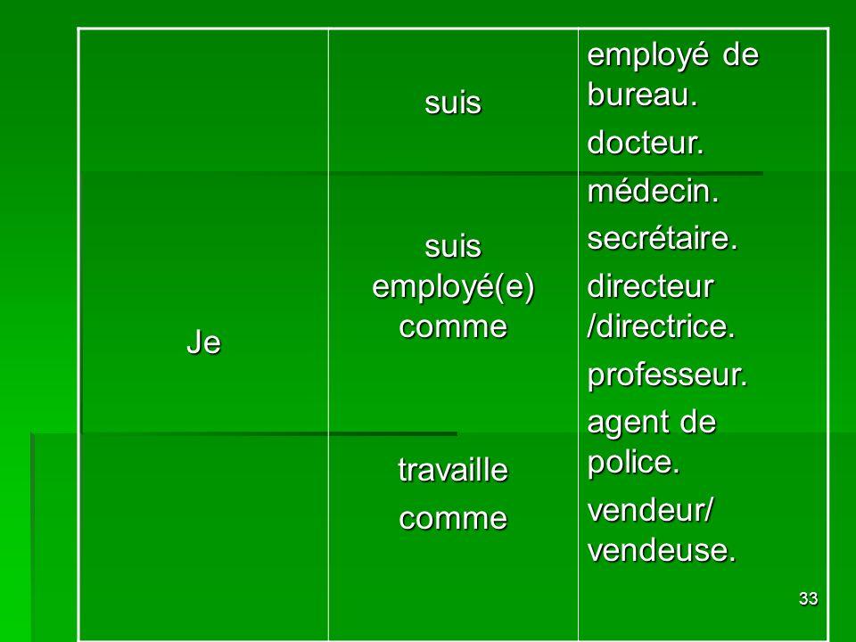 Je suis. suis employé(e) comme. travaille. comme. employé de bureau. docteur. médecin. secrétaire.