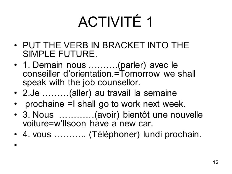 ACTIVITÉ 1 PUT THE VERB IN BRACKET INTO THE SIMPLE FUTURE.