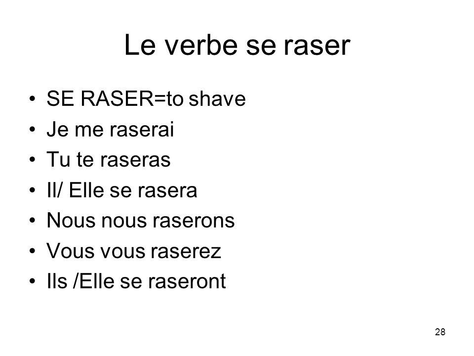 Le verbe se raser SE RASER=to shave Je me raserai Tu te raseras