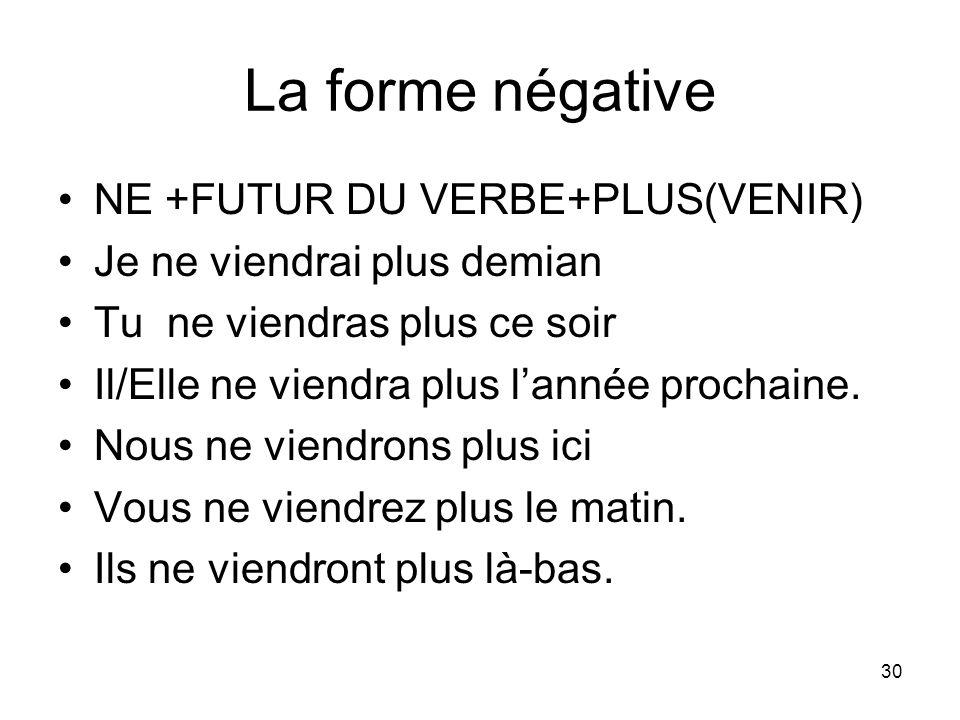 La forme négative NE +FUTUR DU VERBE+PLUS(VENIR)