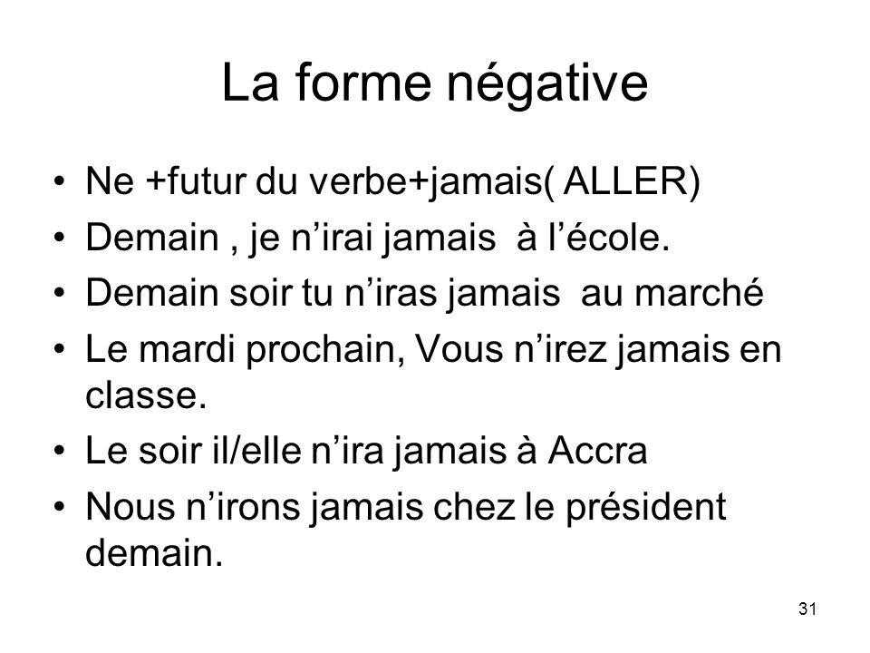 La forme négative Ne +futur du verbe+jamais( ALLER)
