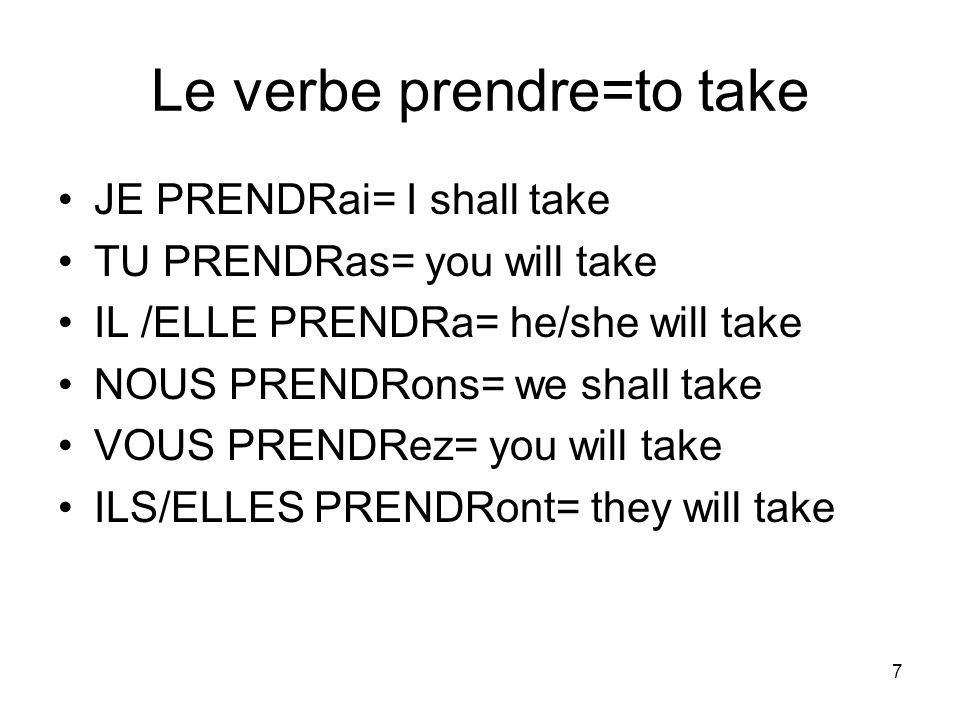 Le verbe prendre=to take