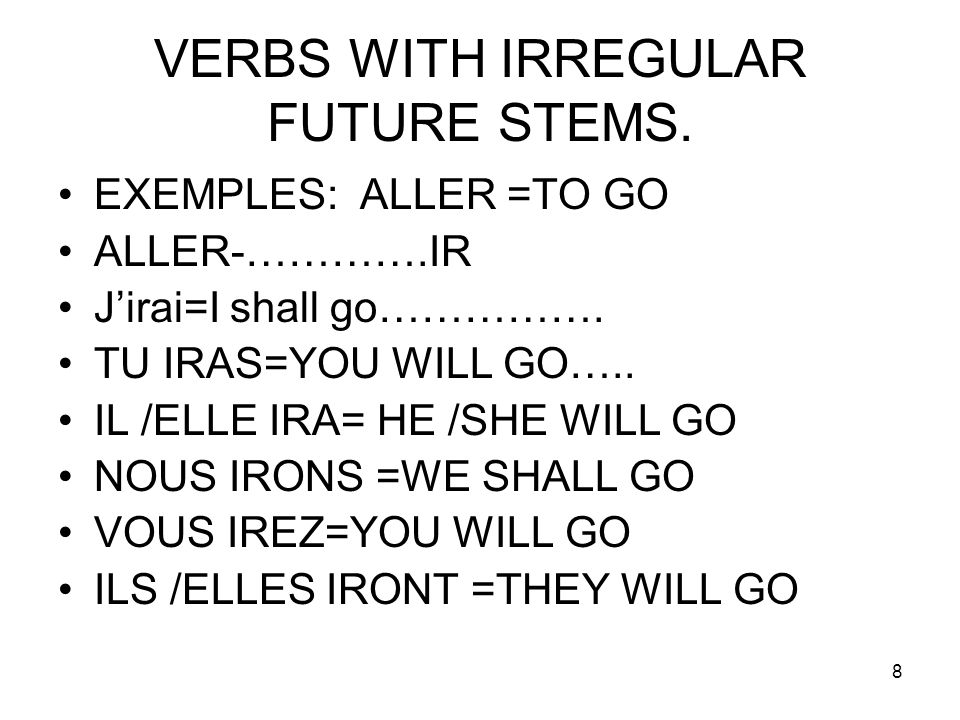 VERBS WITH IRREGULAR FUTURE STEMS.