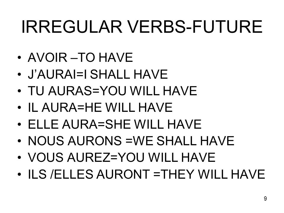 IRREGULAR VERBS-FUTURE