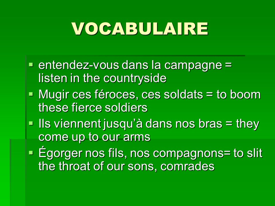 VOCABULAIRE entendez-vous dans la campagne = listen in the countryside