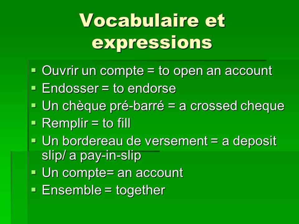Vocabulaire et expressions