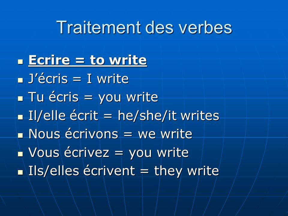Traitement des verbes Ecrire = to write J'écris = I write