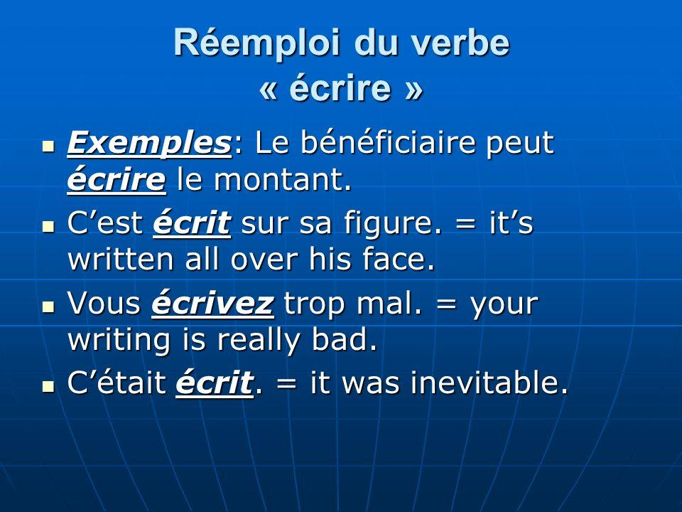 Réemploi du verbe « écrire »