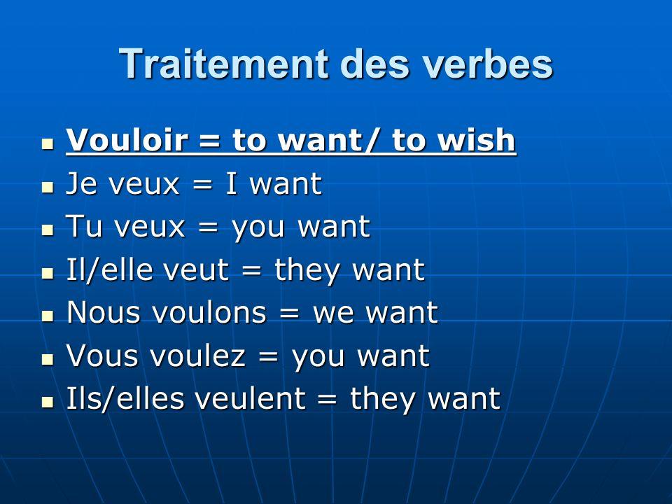 Traitement des verbes Vouloir = to want/ to wish Je veux = I want