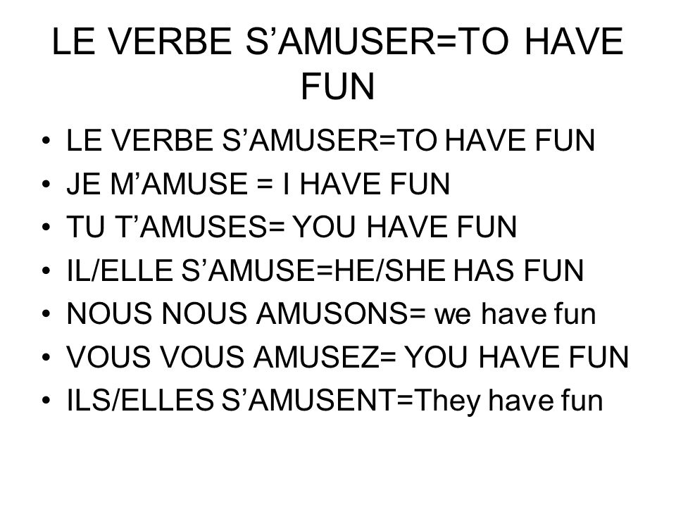 LE VERBE S'AMUSER=TO HAVE FUN
