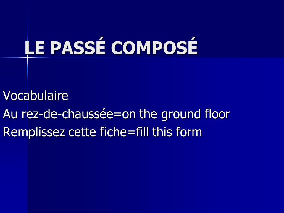LE PASSÉ COMPOSÉ Vocabulaire Au rez-de-chaussée=on the ground floor