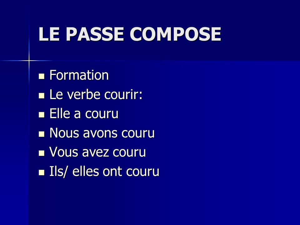 LE PASSE COMPOSE Formation Le verbe courir: Elle a couru