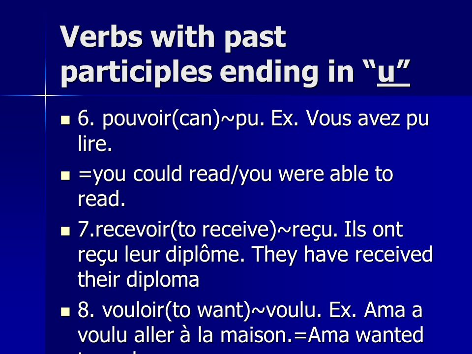 Verbs with past participles ending in u